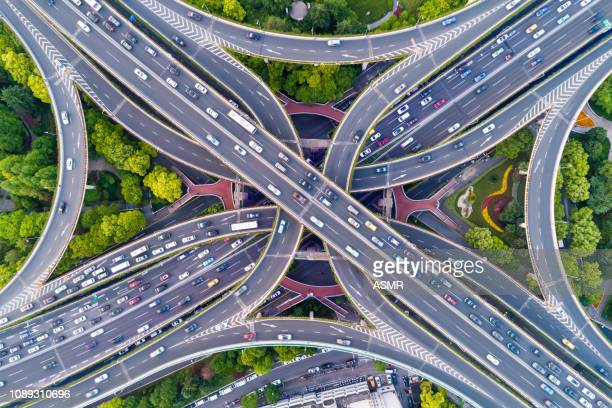 aerial view of shanghai highway - svincolo stradale foto e immagini stock