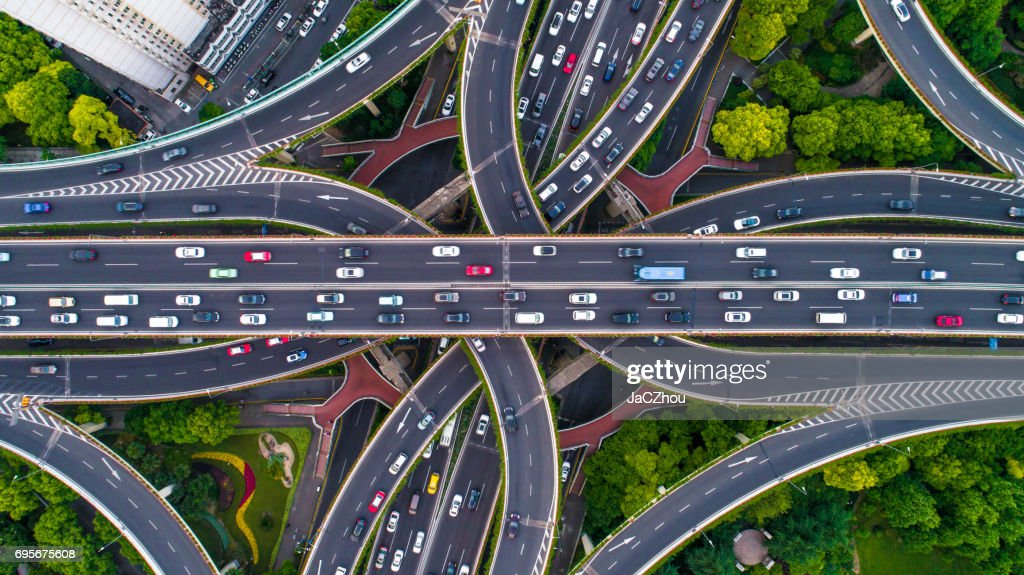 Aerial view of Shanghai Highway : Stock Photo