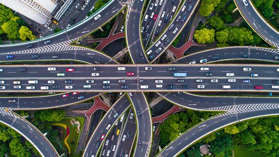 Aerial view of Shanghai Highway 695675608
