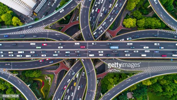 aerial view of shanghai highway - thoroughfare stock photos and pictures