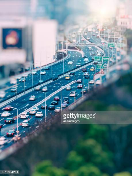 aerial view of Shanghai highway,blurred motion