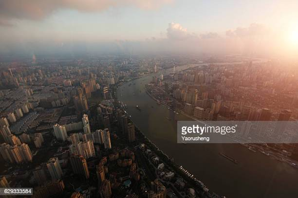Aerial view of Shanghai Huangpu river in the sunset,China