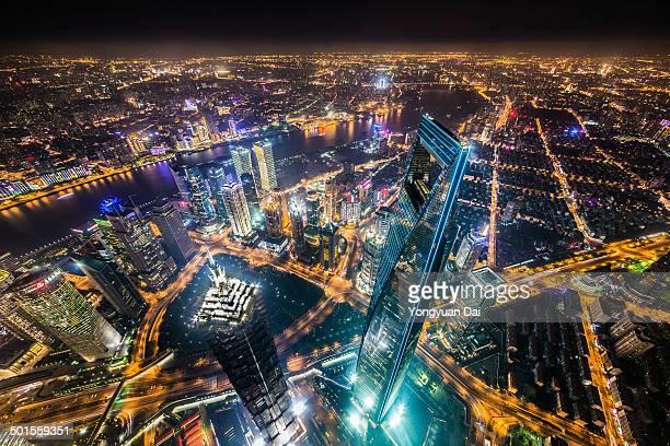 Aerial View of Shanghai Landmarks at Night