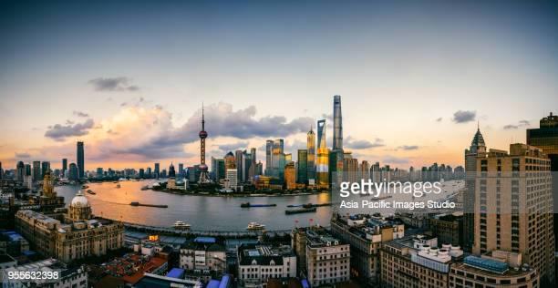 Aerial view of Shanghai Landmarks at sunset