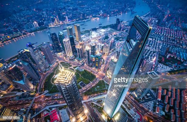 vista aérea de shanghai monumentos - shanghai world financial center - fotografias e filmes do acervo