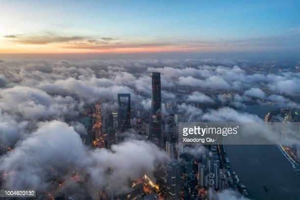 Aerial View Of Shanghai Lujiazui  At Dawn