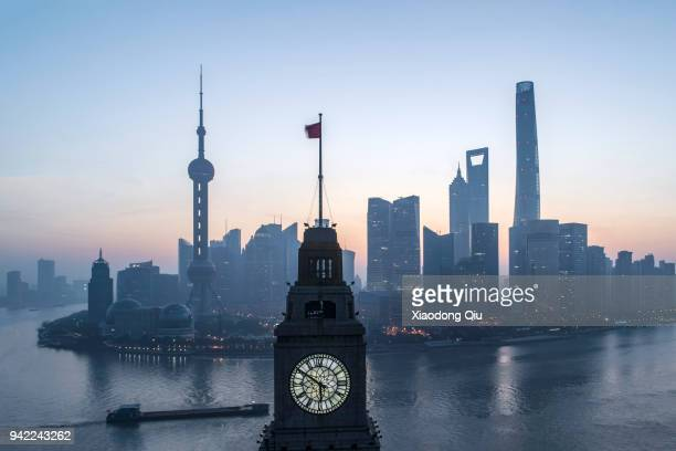 aerial view of shanghai lujiazui at dawn - the bund stock photos and pictures