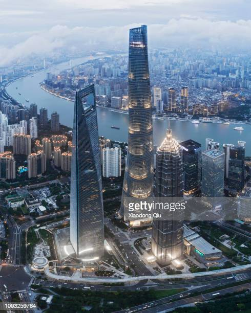aerial view of shanghai lujiazui  at dusk - shanghai tower shanghai stock pictures, royalty-free photos & images
