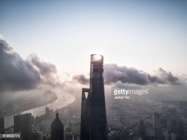 Aerial View of Shanghai Lujiazui Financial District in Fog