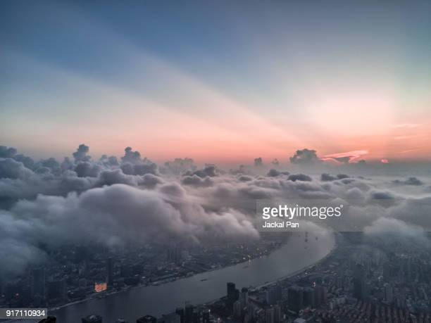 aerial view of shanghai lujiazui financial district in fog - cielo variabile foto e immagini stock