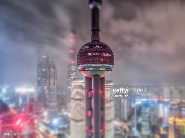 Aerial View of Shanghai Lujiazui Financial District in Fog