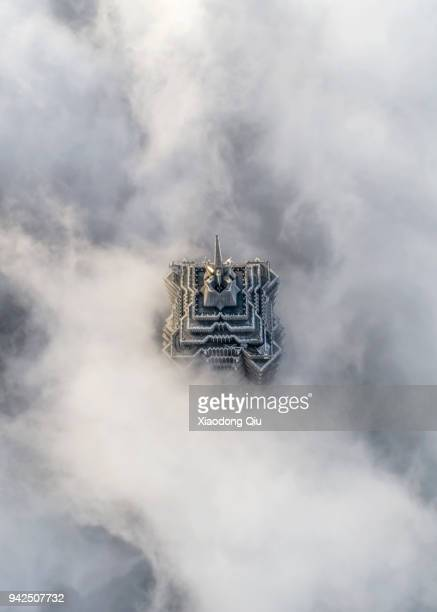aerial view of shanghai lujiazui in stratospheric clouds - prosperity stock pictures, royalty-free photos & images