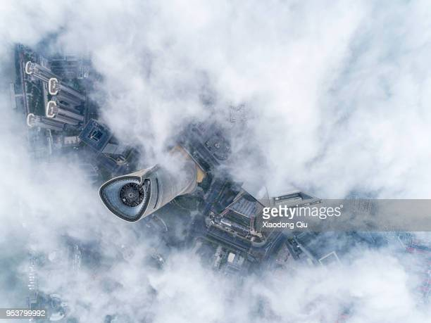 aerial view of shanghai lujiazui  in stratospheric clouds - lujiazui stock pictures, royalty-free photos & images