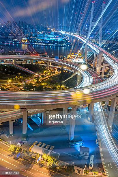 Aerial View of Shanghai overpass at Night