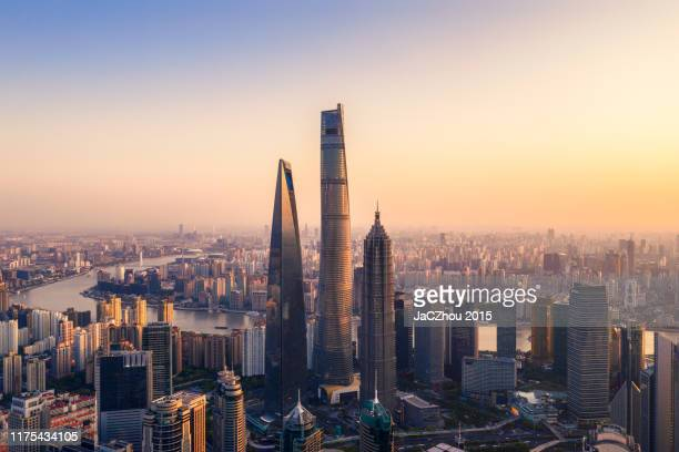 aerial view of shanghai - lujiazui stock pictures, royalty-free photos & images