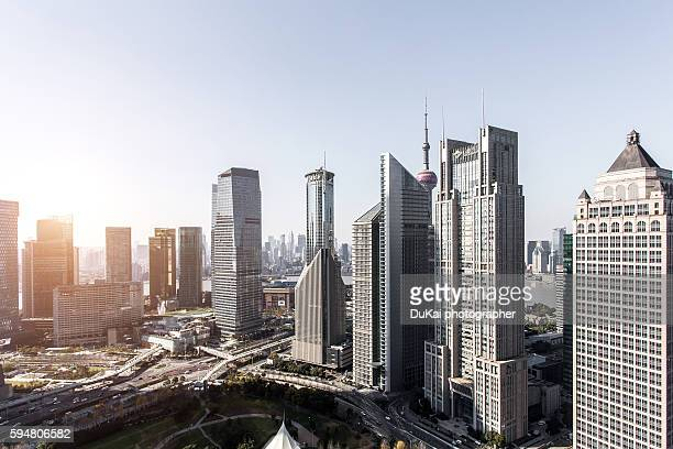 aerial view of shanghai - shanghai billboard stock pictures, royalty-free photos & images