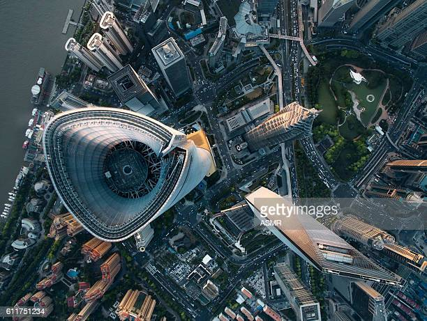 aerial view of shanghai - tall high stock photos and pictures