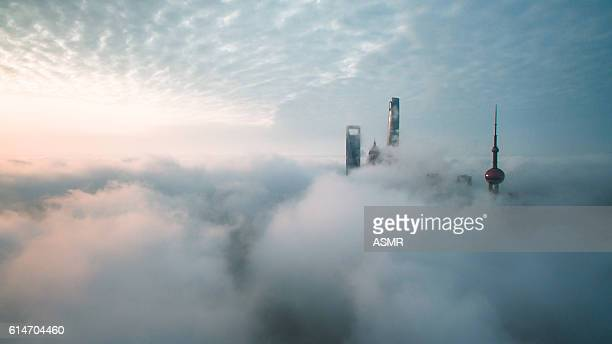 aerial view of shanghai - skyscraper stock pictures, royalty-free photos & images