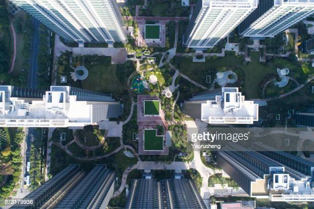 Aerial view of shanghai  residential apartments in sunny day