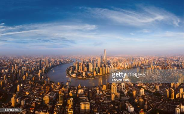 aerial view of shanghai skyline at dusk - lujiazui stock pictures, royalty-free photos & images