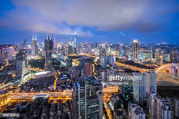Aerial View of Shanghai Skyline at Dusk