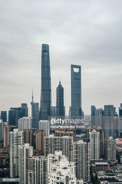 Aerial View of Shanghai Skyline