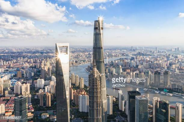 aerial view of shanghai skyscrapers - shanghai stock pictures, royalty-free photos & images