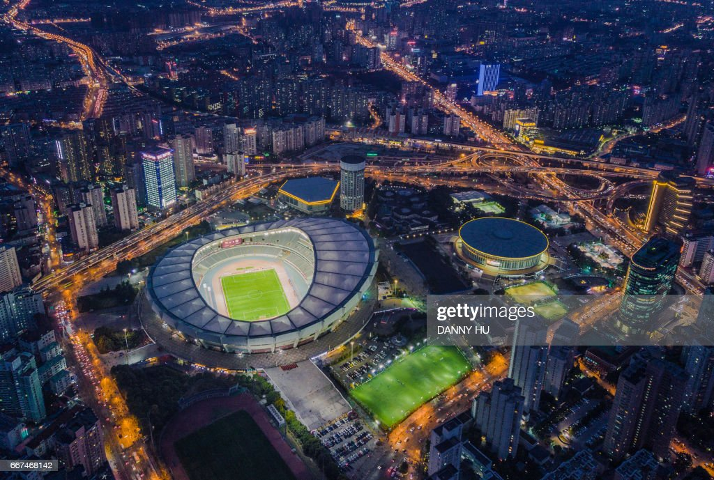 aerial view of Shanghai stadium in Xuhui district : Stock-Foto