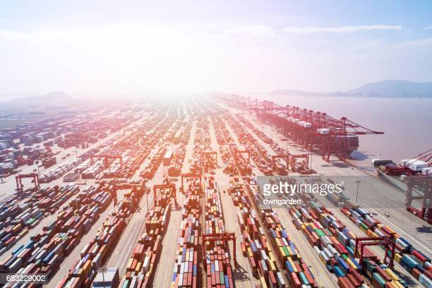 Aerial view of Shanghai Yangshan deepwater port