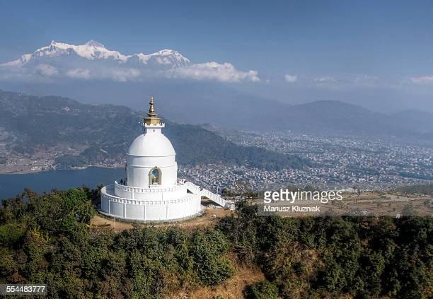 Aerial view of Shanti Stupa or Peace Pagoda