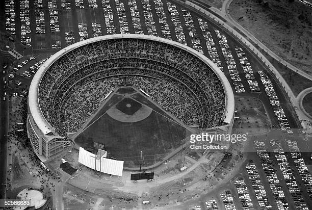 Aerial view of Shea Stadium, baseball home of the New York Mets of the National League during the 1966 season in Flushing, New York.