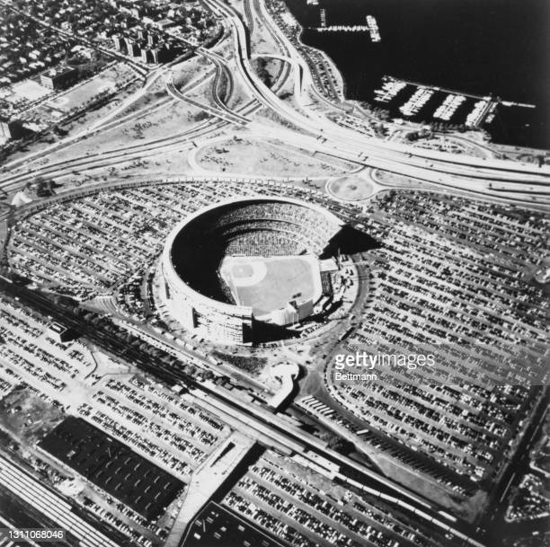 Aerial view of Shea Stadium on the final day of the 1969 World Series, with the New York Mets playing the Baltimore Orioles, in Flushing Meadows in...