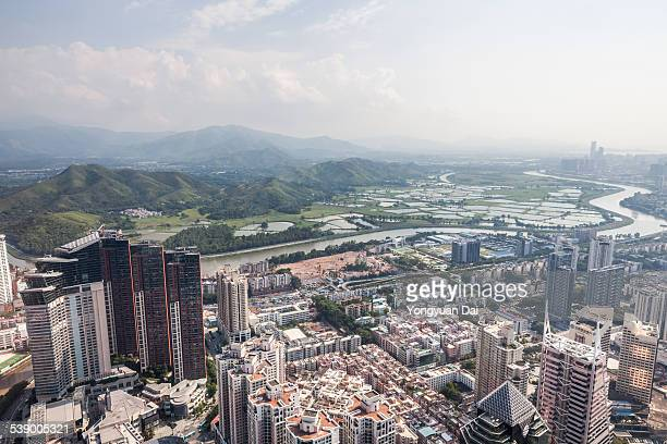 Aerial View of Shenzhen and Hong Kong