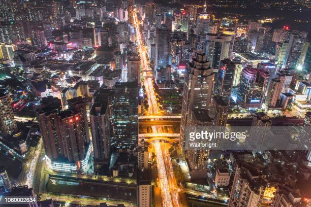 Aerial view of Shenzhen cityscape at night