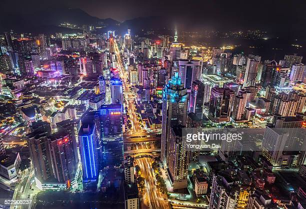 Aerial View of Shenzhen Skyline at Night