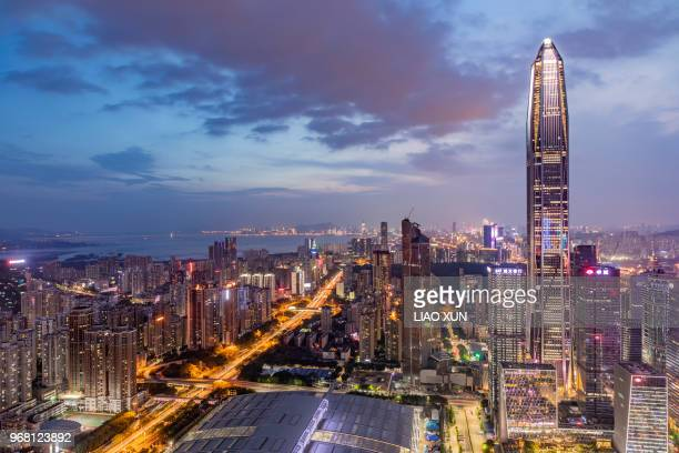 aerial view of shenzhen skyline - shenzhen stock pictures, royalty-free photos & images