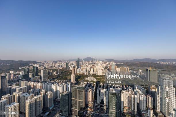 Aerial view of Shenzhen skyscrapers at dawn