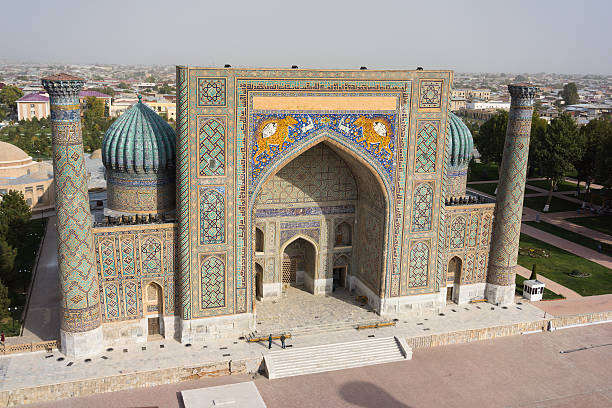 Aerial view of Sher Dor (Lion) Medressa, Samarkand