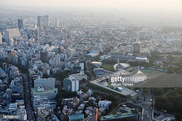 Aerial view of Shibuya area and the Yoyogi national stadium which will host the Handball events during the Tokyo 2020 Olympic Games on September 12...