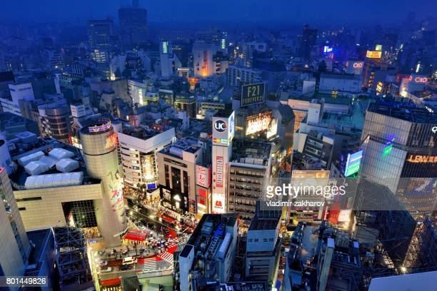 Aerial view of Shibuya district at night