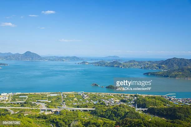 Aerial View of Shimanami Kaido Expressway over Seto Inland Sea