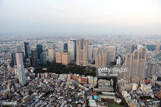 Aerial view of Shinjuku area and the Tokyo Metropolitan Government Office Building on September 12 2013 in Tokyo Japan Tokyo was selected as the site...