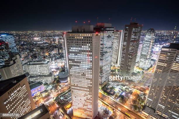 Aerial View of Shinjuku Skyscrapers at Night