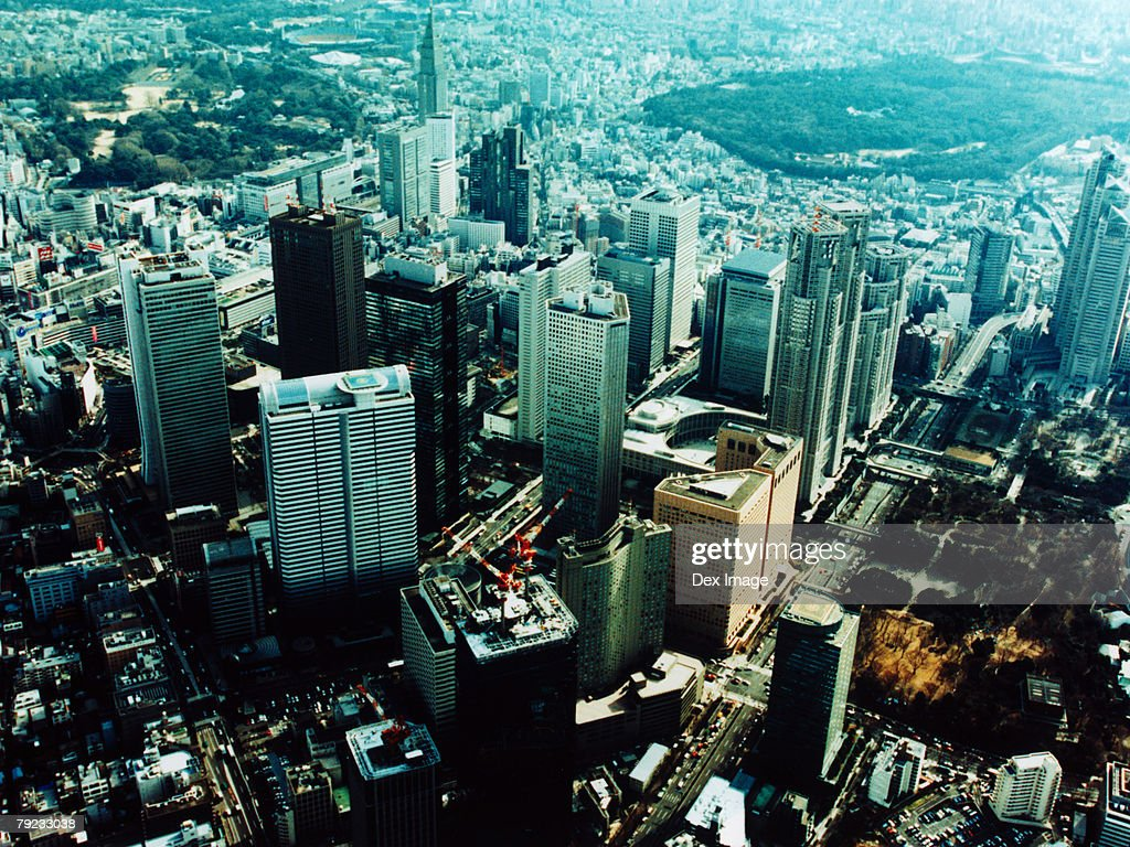 Aerial View of Shinjuku-ku, Tokyo, Japan : Stock Photo