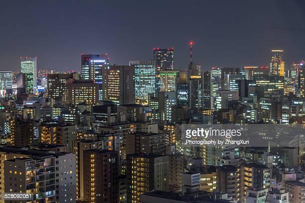 Aerial view of Shinjyuku cityscape at night