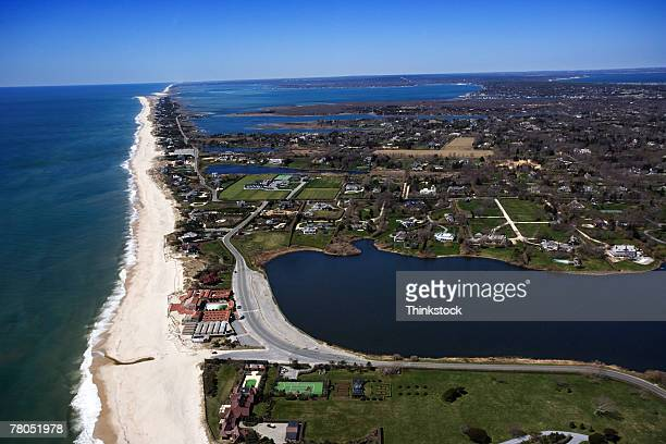 aerial view of shinnecock inlet, southampton, new york - long island stock pictures, royalty-free photos & images