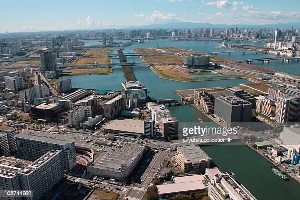 Aerial view of Shinonome canal, Koto ward, Tokyo Prefecture, Honshu, Japan