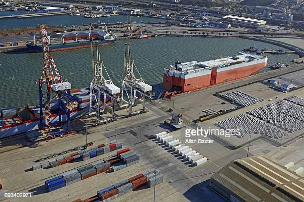 aerial view of ship in coega port - port elizabeth südafrika stock-fotos und bilder