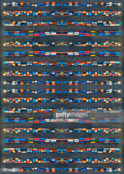 aerial view of shipping containers. - harbour stock pictures, royalty-free photos & images