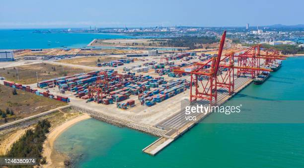 Aerial view of shipping containers sit stacked at Yangpu port on May 26 2020 in Yangpu Economic Development Zone Hainan Province of China
